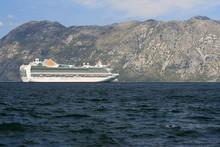 Beautiful Passenger Ship  In The Bay Of Kotor. Montenegro .