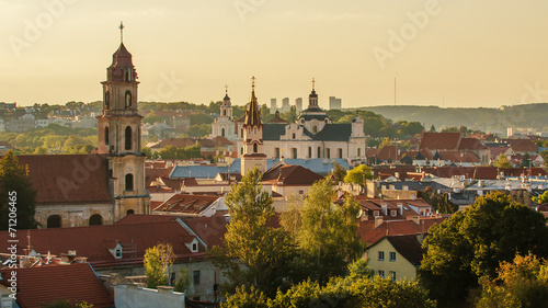 Old Town of Vilnius, Lithuania. View from piloted flying object
