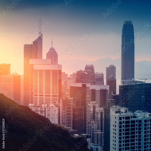 Vászonkép  Hong Kong cityscape at sunset