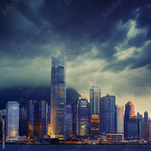 Vászonkép  Hong Kong cityscape in stormy weather - amazing atmosphere