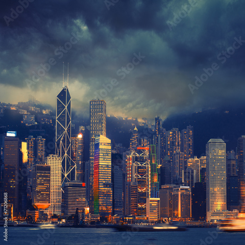Hong Kong cityscape in stormy weather - amazing atmosphere Plakát