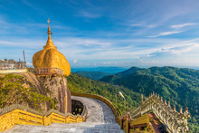 Kyaikhtiyo Pagoda Or Golden Rock In Myanmar