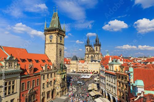 Staande foto Praag Tyn Cathedral & Clock Tower, Prague Czech Republic