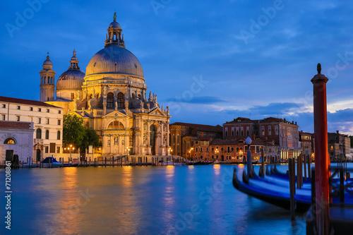 Poster Venice Basilica Santa Maria della Salute at night, Venice Italy