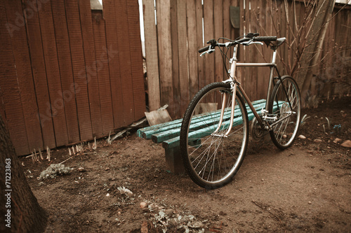 Fotobehang Fiets vintage bike on the street photo
