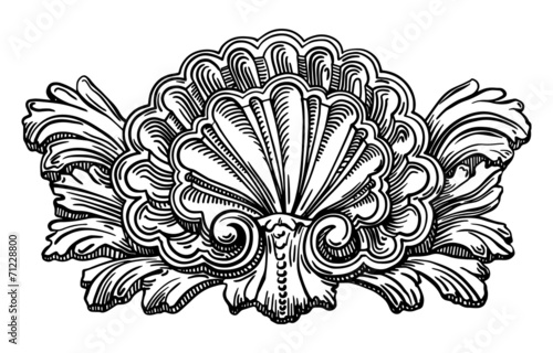 Fotografia heraldry clam shell sketch calligraphic drawing isolated on whit