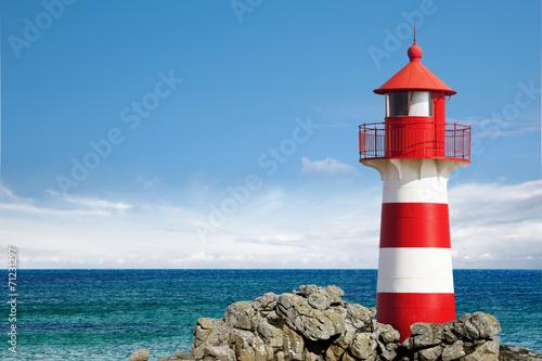 Foto op Aluminium Vuurtoren Leuchtturm am Ozean