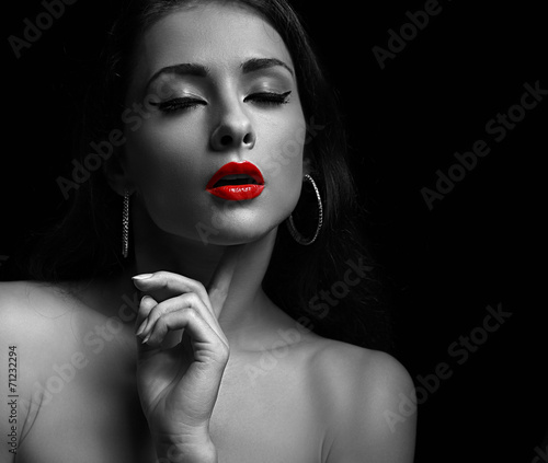 Black and white portrait of sexy young woman with red lips