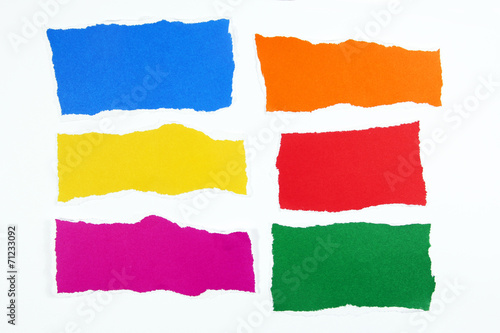 colorful torn paper on white background Canvas