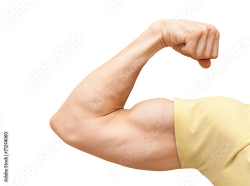 Strong male arm shows biceps. Close-up photo isolated on white Fototapeta