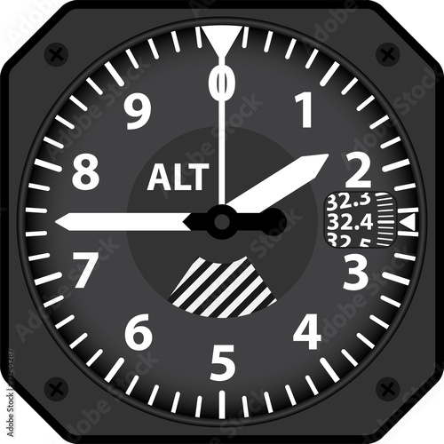 Photo Vector illustration of analogical aircraft altimeter
