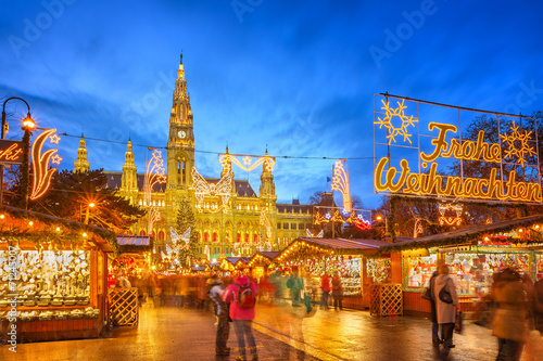 Christmas market in Vienna Canvas Print