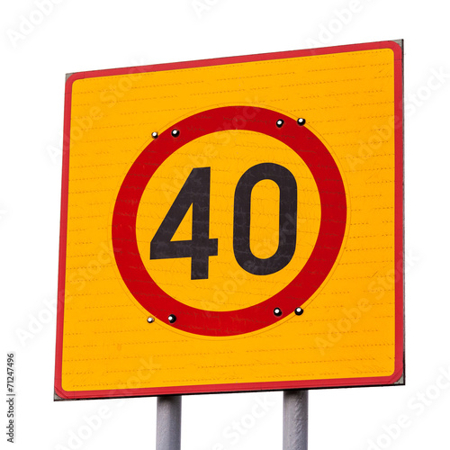 Fotografía  Speed limit road sign isolated on white
