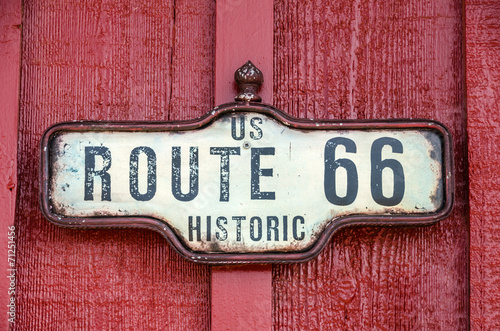 Deurstickers Route 66 Historic US Route 66 Sign