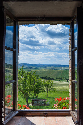 Tuscany landscape from window