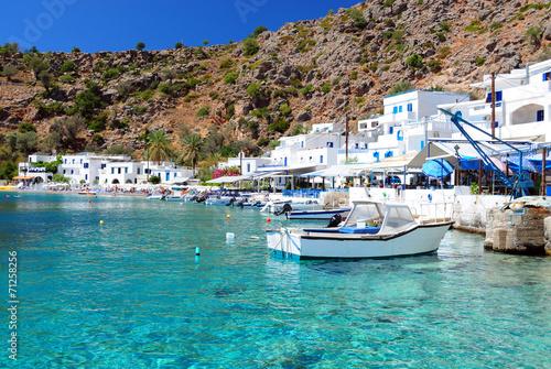 Obraz na plátně Řecký pobřeží vesnice Loutro v jižní Kréty