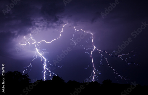Montage in der Fensternische Onweer Lightning