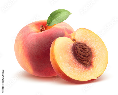 Poster Fruit Beautiful whole peach and split isolated on white