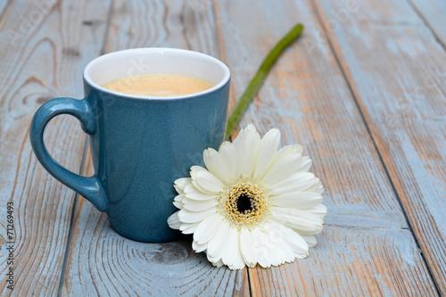 Photo Stands Flower shop blauwe koffiekop met witte gerbera op oud hout