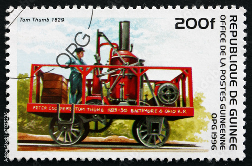 Fototapeta  Postage stamp Guinea 1996 Tom Thumb, 1829, Locomotive