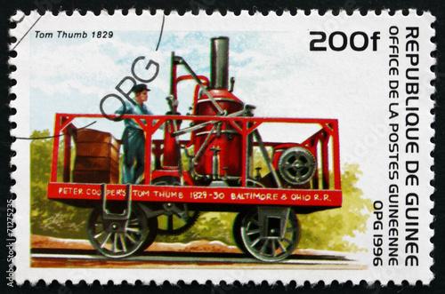 Fotografie, Obraz  Postage stamp Guinea 1996 Tom Thumb, 1829, Locomotive