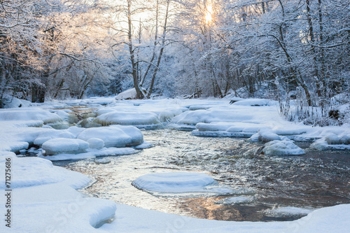 Printed kitchen splashbacks River Flowing river at winter