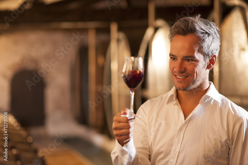 Fotomural  professional winemaker examining a glass of red wine in a tradit