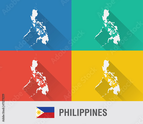 Philippines world map in flat style with 4 colors. - Buy this stock ...