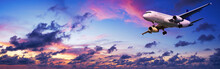 Jet Aircraft In A Spectacular Sunset Sky