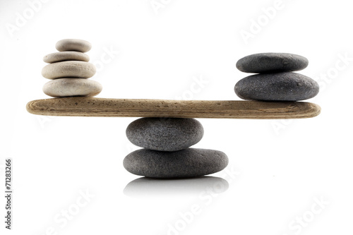 Poster Zen balancing stones on white