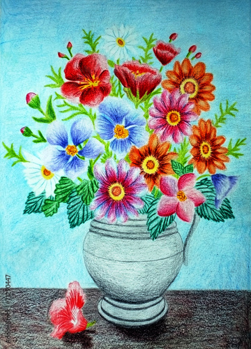 Colored Pencil Flower Vase Drawing Buy This Stock Photo And