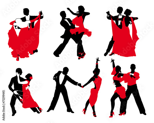 vector set of red and black couples Wallpaper Mural