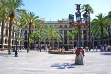 Plaza Real Is A Square In The Gothic Quarter In Barcelona, Spain