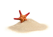 Starfish On Sand Isolated On W...