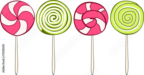 Photographie  Set of colorful lollipops hand drawn style. Vector