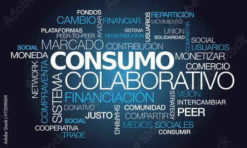 Fototapety, obrazy: Consumo colaborativo economía colaborativa comercio palavras