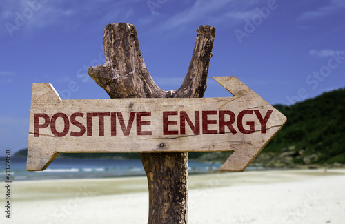 Fotografie, Obraz  Positive Energy wooden sign with a beach on background