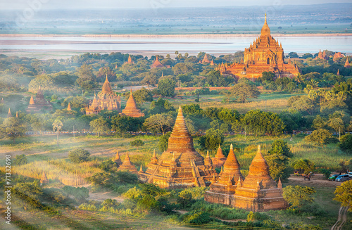 Ancient pagodas in Bagan with altitude balloon Myanmar Fototapeta