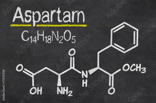 Schiefertafel mit der chemischen Formel von Aspartam Canvas Print