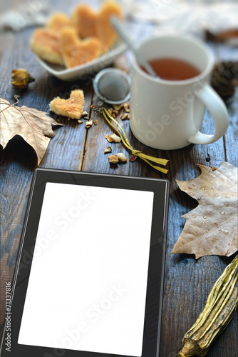 digital tablet and coffee Canvas Print