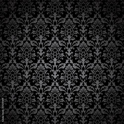 Fotografía  Black Damask Pattern