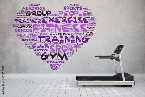 Laufband im Zimmer mit Fitness Konzept als Herz