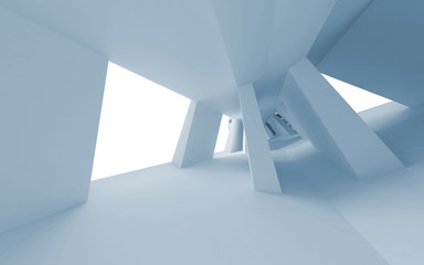 Blue abstract 3d empty interior with bent perspective