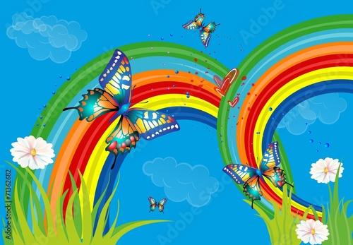 Foto op Canvas Regenboog tło z tęczą i motylami,