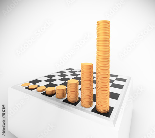 Chessboard With Growing Height Coins Stacks Buy This Stock