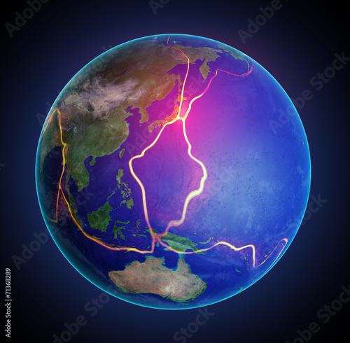 Fotografie, Obraz  Zemské poruchové linky mezi tektonických desek