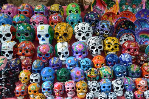 Fotografia, Obraz  Multicolored porcelain skulls – souvenir stall - Chichen Itza –