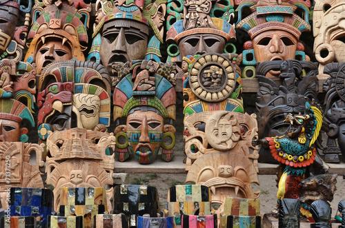 Fototapeta  Muliticolored Maya masks - souvenir stall - Chichen Itza – Mexico