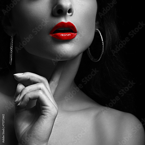 Fotografija Sexy woman with red lips. Black and white portrait. Closeup