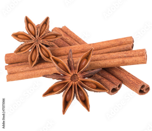 Fototapeta cinnamon stick and star anise spice isolated on white background obraz